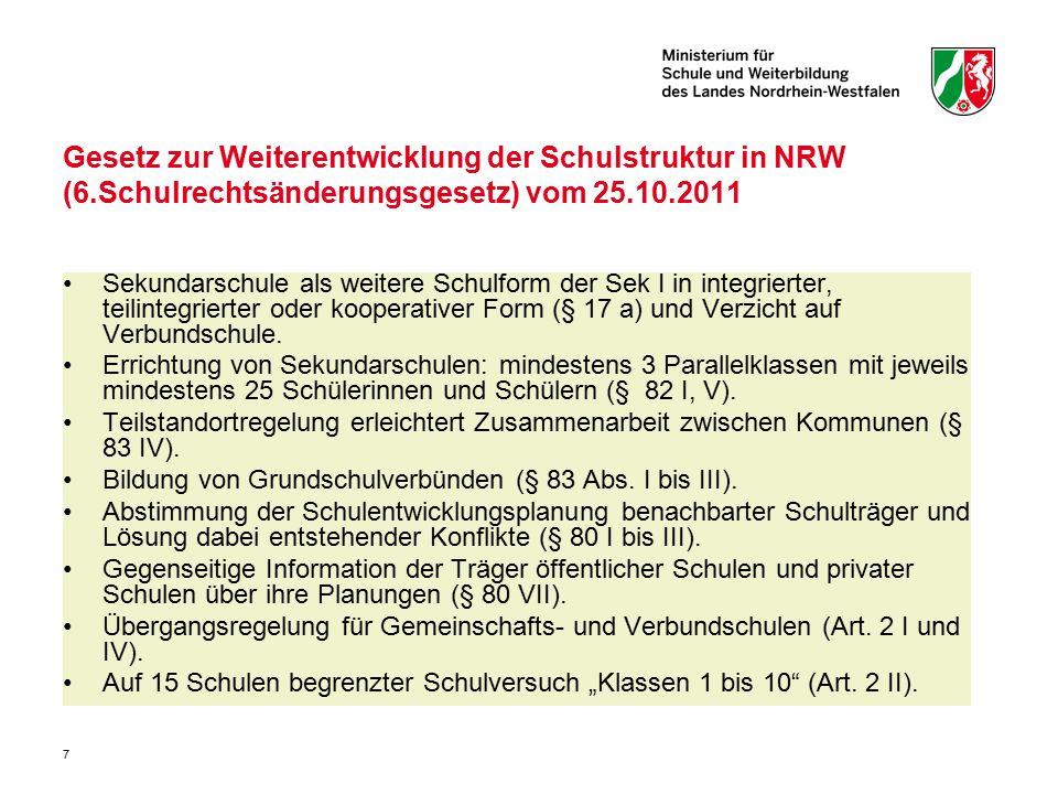7 Gesetz zur Weiterentwicklung der Schulstruktur in NRW (6.Schulrechtsänderungsgesetz) vom 25.10.2011 Sekundarschule als weitere Schulform der Sek I i
