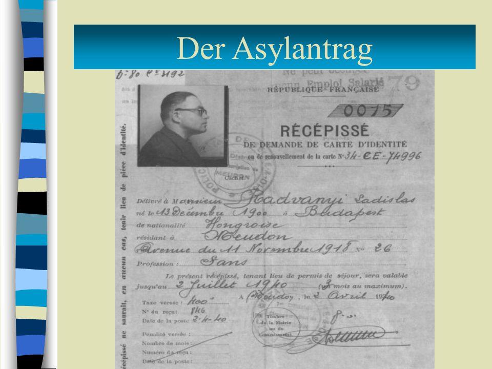 Der Asylantrag Verfahren bei einem begründeten Antrag: befristete Einreisegenehmigung ↓ Antrag auf Aufenthaltsgenehmigung Antrag auf Asylgewährung beim OFPRA ↓ Erhalt der Flüchtlingseigenschaft, 10jährige Aufenthalts- und Arbeitsberechtigung