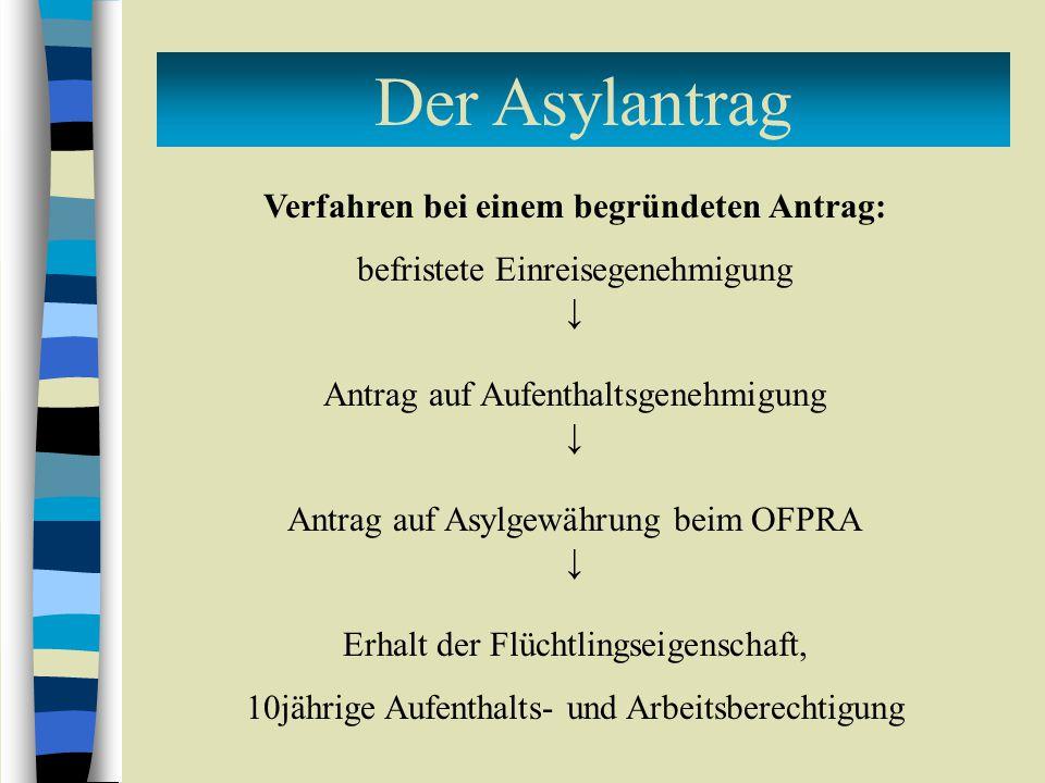 Der Asylantrag Verfahren bei einem begründeten Antrag: befristete Einreisegenehmigung ↓ Antrag auf Aufenthaltsgenehmigung ↓ Antrag auf Asylgewährung beim OFPRA ↓ Erhalt der Flüchtlingseigenschaft, 10jährige Aufenthalts- und Arbeitsberechtigung