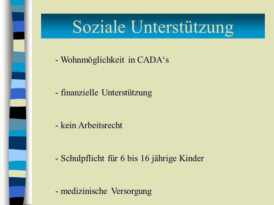 Soziale Unterstützung - Wohnmöglichkeit in CADA's - finanzielle Unterstützung - kein Arbeitsrecht - Schulpflicht für 6 bis 16 jährige Kinder - medizinische Versorgung