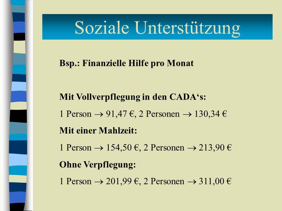 Bsp.: Finanzielle Hilfe pro Monat Mit Vollverpflegung in den CADA's: 1 Person  91,47 €, 2 Personen  130,34 € Mit einer Mahlzeit: 1 Person  154,50 €