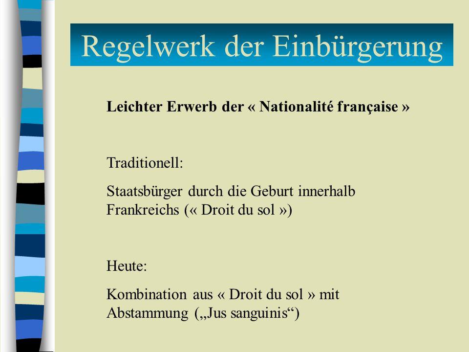 Regelwerk der Einbürgerung Leichter Erwerb der « Nationalité française » Traditionell: Staatsbürger durch die Geburt innerhalb Frankreichs (« Droit du