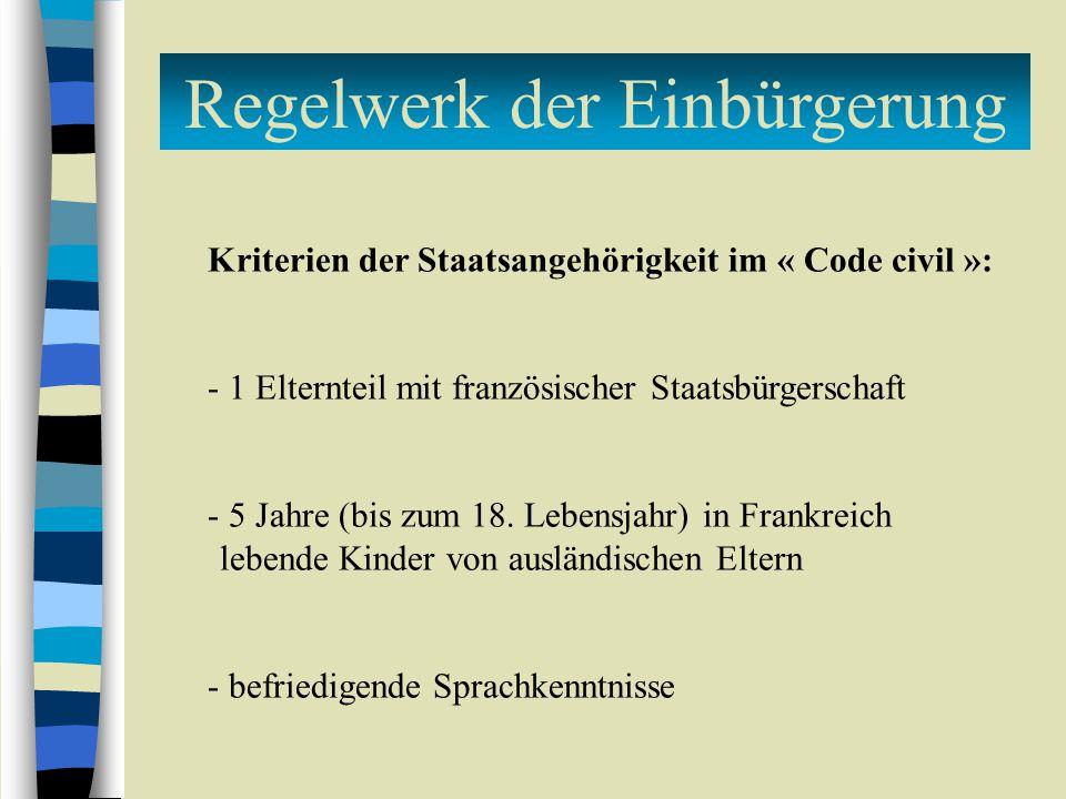 Regelwerk der Einbürgerung Kriterien der Staatsangehörigkeit im « Code civil »: - 1 Elternteil mit französischer Staatsbürgerschaft - 5 Jahre (bis zum 18.