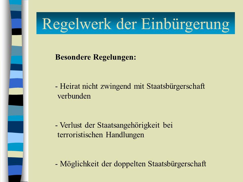 Regelwerk der Einbürgerung Besondere Regelungen: - Heirat nicht zwingend mit Staatsbürgerschaft verbunden - Verlust der Staatsangehörigkeit bei terroristischen Handlungen - Möglichkeit der doppelten Staatsbürgerschaft