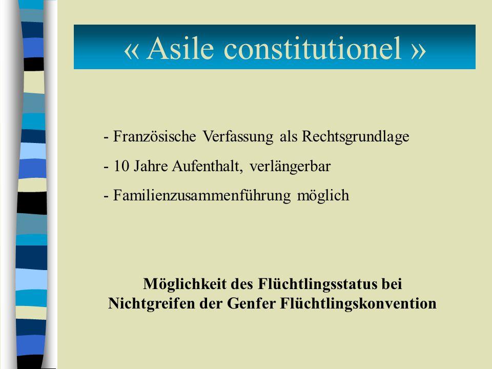 « Asile constitutionel » - Französische Verfassung als Rechtsgrundlage - 10 Jahre Aufenthalt, verlängerbar - Familienzusammenführung möglich Möglichkeit des Flüchtlingsstatus bei Nichtgreifen der Genfer Flüchtlingskonvention