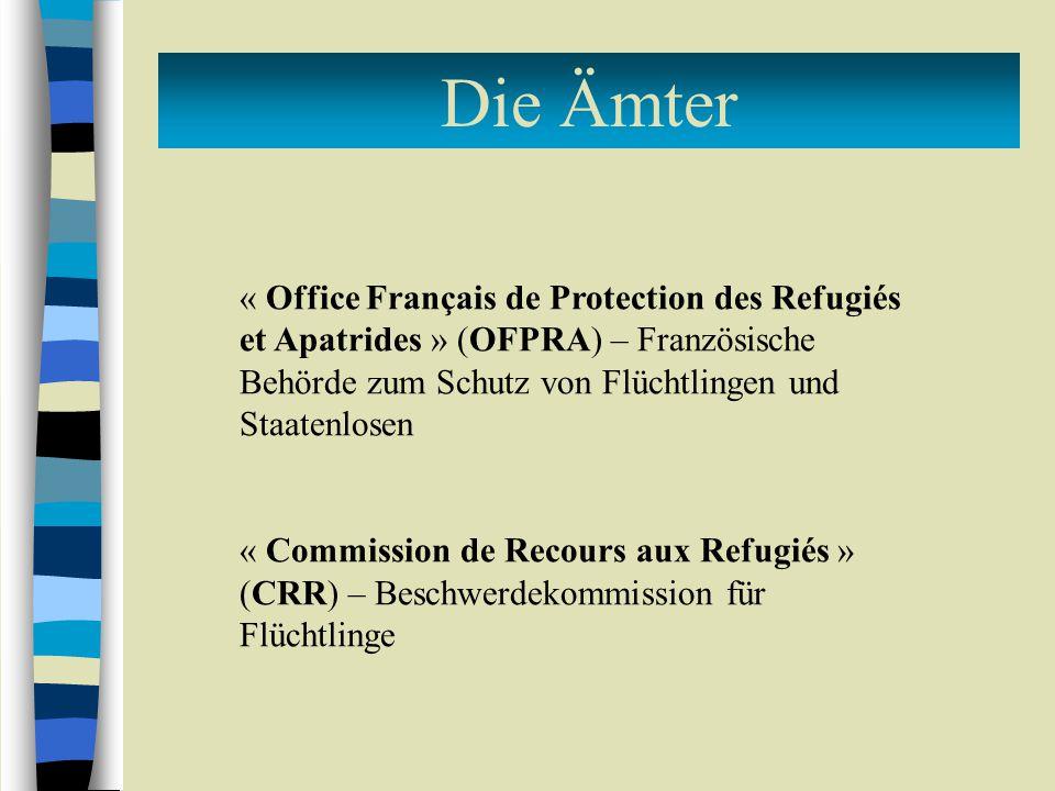 Die Ämter « Office Français de Protection des Refugiés et Apatrides » (OFPRA) – Französische Behörde zum Schutz von Flüchtlingen und Staatenlosen « Commission de Recours aux Refugiés » (CRR) – Beschwerdekommission für Flüchtlinge
