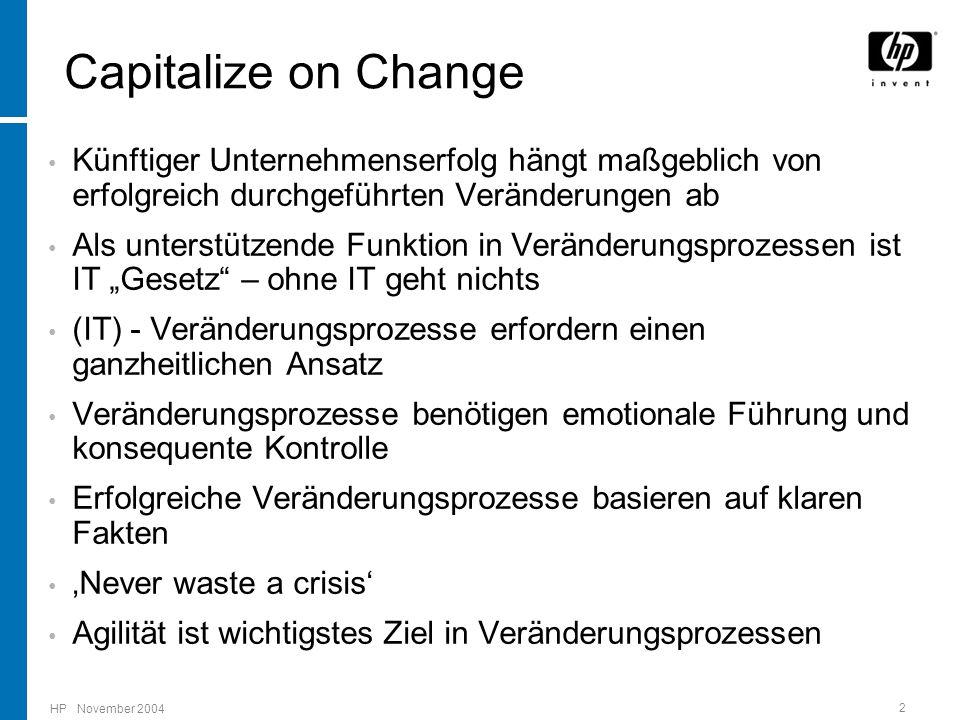 """HP November 2004 2 Capitalize on Change Künftiger Unternehmenserfolg hängt maßgeblich von erfolgreich durchgeführten Veränderungen ab Als unterstützende Funktion in Veränderungsprozessen ist IT """"Gesetz – ohne IT geht nichts (IT) - Veränderungsprozesse erfordern einen ganzheitlichen Ansatz Veränderungsprozesse benötigen emotionale Führung und konsequente Kontrolle Erfolgreiche Veränderungsprozesse basieren auf klaren Fakten 'Never waste a crisis' Agilität ist wichtigstes Ziel in Veränderungsprozessen"""
