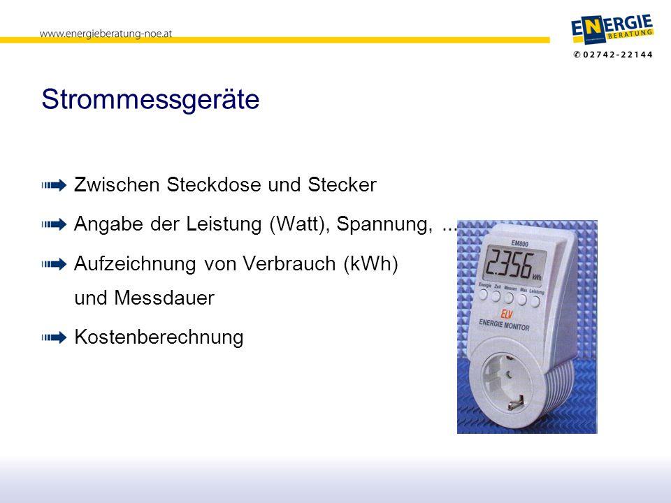 Strommessgeräte Zwischen Steckdose und Stecker Angabe der Leistung (Watt), Spannung,...