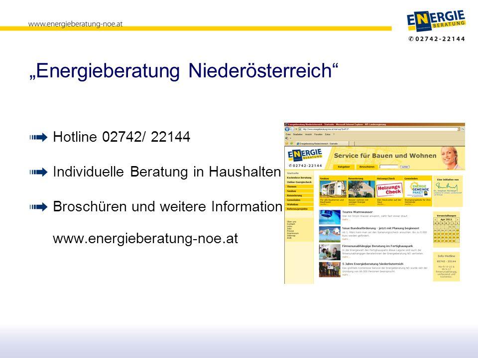 """""""Energieberatung Niederösterreich Hotline 02742/ 22144 Individuelle Beratung in Haushalten Broschüren und weitere Information www.energieberatung-noe.at"""