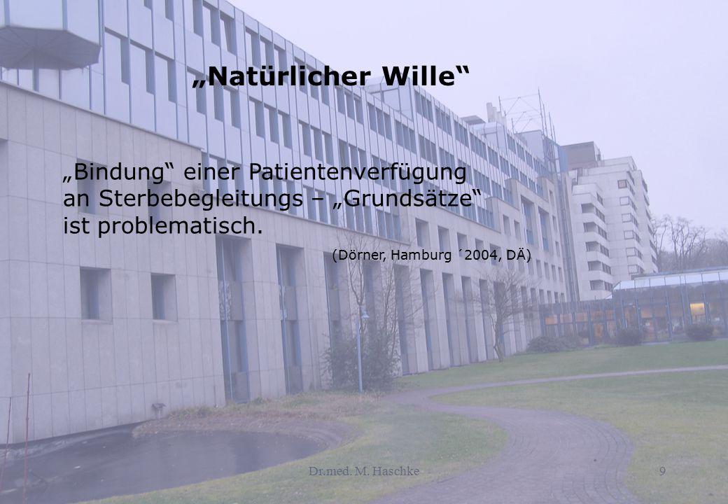 """Dr.med. M. Haschke9 """"Natürlicher Wille"""" """"Bindung"""" einer Patientenverfügung an Sterbebegleitungs – """"Grundsätze"""" ist problematisch. (Dörner, Hamburg ´20"""