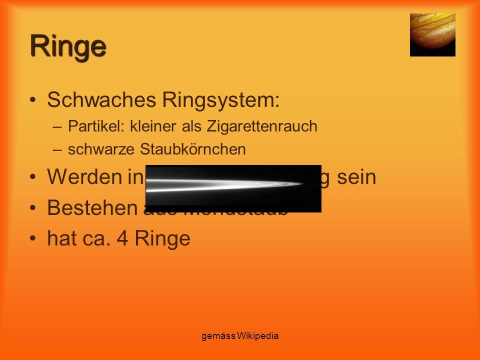 gemäss Wikipedia Ringe Schwaches Ringsystem: –Partikel: kleiner als Zigarettenrauch –schwarze Staubkörnchen Werden in 100.000 Jahre weg sein Bestehen