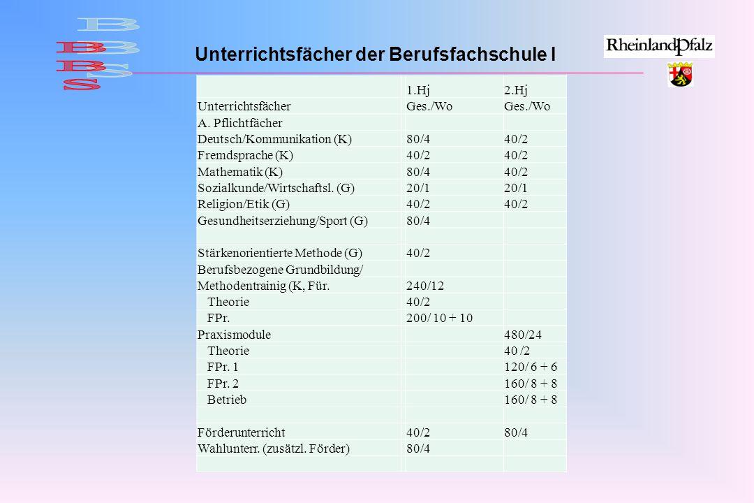 Unterrichtsfächer der Berufsfachschule I 1.Hj2.Hj UnterrichtsfächerGes./Wo A.