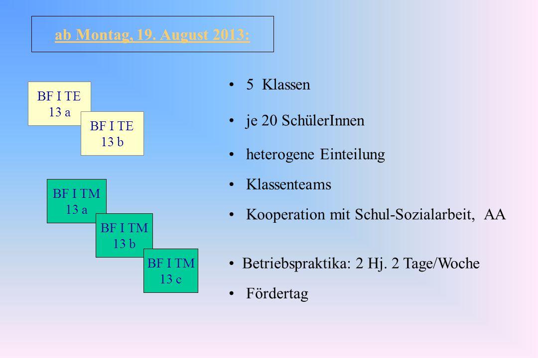 BF I TM 13 a BF I TM 13 b BF I TM 13 c BF I TE 13 a BF I TE 13 b 5 Klassen je 20 SchülerInnen heterogene Einteilung Klassenteams Kooperation mit Schul-Sozialarbeit, AA Betriebspraktika: 2 Hj.