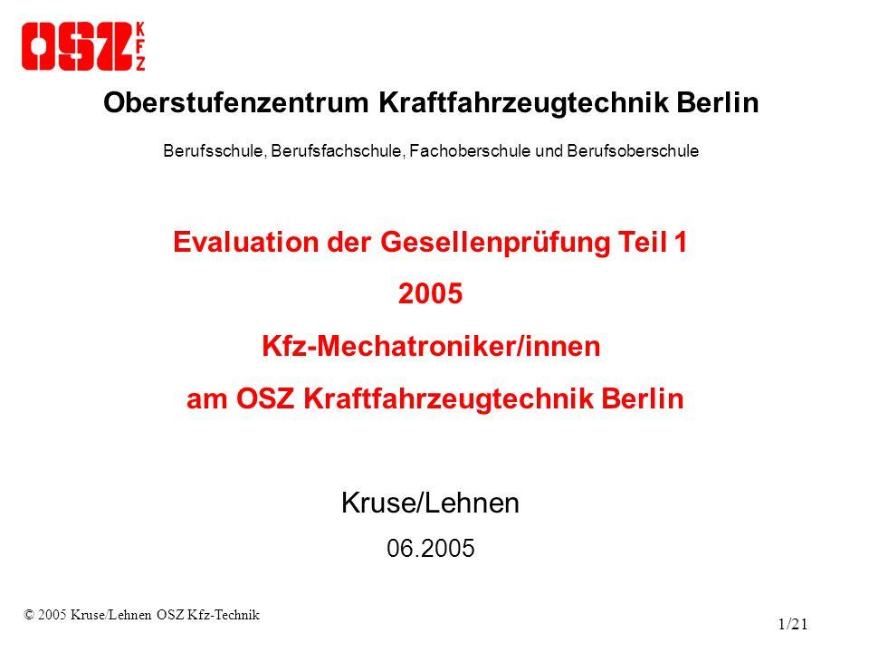 Struktur der Evaluation  Ausgegeben wurden 215 Fragebögen an Schüler und Schülerinnen, die an der Gesellenprüfung Teil 1 Kfz- Mechatroniker/in teilgenommen haben  Zeitraum der Befragung: 6.2005  Es wurden insgesamt 12 Items (Merkmale) abgefragt  Es wurden die Skalen stimmt genau stimmt eher stimmt eher nicht stimmt nicht angewendet © 2005 Kruse/Lehnen OSZ Kfz-Technik 2/21