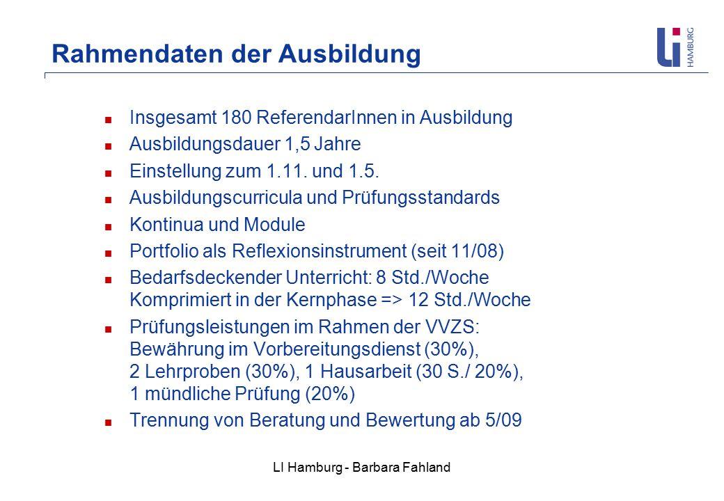 LI Hamburg - Barbara Fahland Insgesamt 180 ReferendarInnen in Ausbildung Ausbildungsdauer 1,5 Jahre Einstellung zum 1.11.