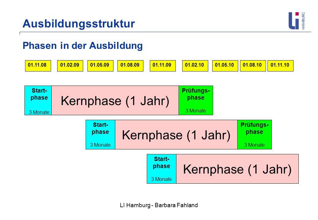 LI Hamburg - Barbara Fahland Phasen in der Ausbildung 01.02.1001.05.1001.11.1001.08.1001.11.0901.08.0901.05.0901.11.0801.02.09 Start- phase 3 Monate Kernphase (1 Jahr) Prüfungs- phase 3 Monate Prüfungs- phase 3 Monate Kernphase (1 Jahr) Start- phase 3 Monate Start- phase 3 Monate Kernphase (1 Jahr) Ausbildungsstruktur