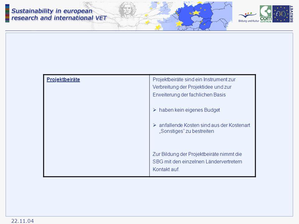 """22.11.04 ProjektbeiräteProjektbeiräte sind ein Instrument zur Verbreitung der Projektidee und zur Erweiterung der fachlichen Basis  haben kein eigenes Budget  anfallende Kosten sind aus der Kostenart """"Sonstiges zu bestreiten Zur Bildung der Projektbeiräte nimmt die SBG mit den einzelnen Ländervertretern Kontakt auf."""