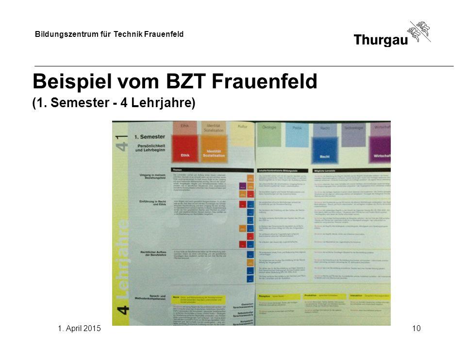 Bildungszentrum für Technik Frauenfeld 1. April 201510 Beispiel vom BZT Frauenfeld (1. Semester - 4 Lehrjahre)
