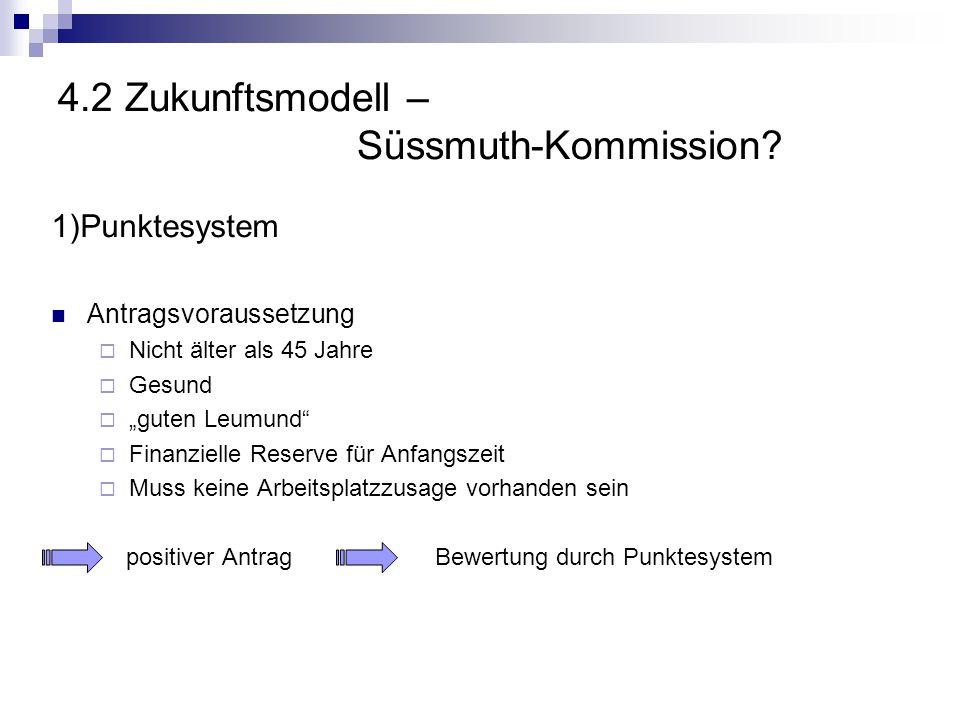 """4.2 Zukunftsmodell – Süssmuth-Kommission? 1)Punktesystem Antragsvoraussetzung  Nicht älter als 45 Jahre  Gesund  """"guten Leumund""""  Finanzielle Rese"""