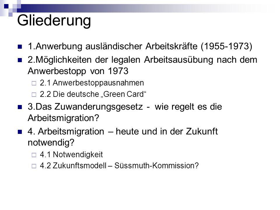 """Einflussfaktoren für die Brüche bei der Arbeitsmigration in Deutschland Wirtschaftliche Faktoren 1)Ölpreisschock  verstärkt steigende Arbeitslosenzahlen  Wirtschaftskrise  Anwerbestopp 1973 2)Bedarfslücken des deutschen Arbeitsmarktes  1990 Anwerbestoppausnahmeverordnung politisch-historischer Faktor Öffnung der Grenzen zu Osteuropa  1990 Anwerbestoppausnahmeverordnung  Taktik erwartete Wanderungsbewegungen aus den Transformationsstaaten zu bremsen politisch- institutioneller Faktor rot-grüne Regierung ab 1998  Bekennung zum Einwanderungsland  Zuwanderungsgesetz politisch- konjunktureller Faktor Druck seitens der Unternehmerverbände (Beschwerden über den Mangel an IT- Fachkräften  Schröder kündigt während der internationalen Computermesse CeBIT 2000 die """"Green Card an"""