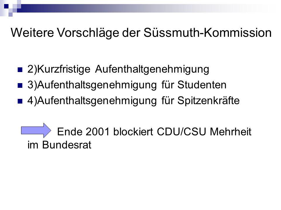 2)Kurzfristige Aufenthaltgenehmigung 3)Aufenthaltsgenehmigung für Studenten 4)Aufenthaltsgenehmigung für Spitzenkräfte Ende 2001 blockiert CDU/CSU Meh