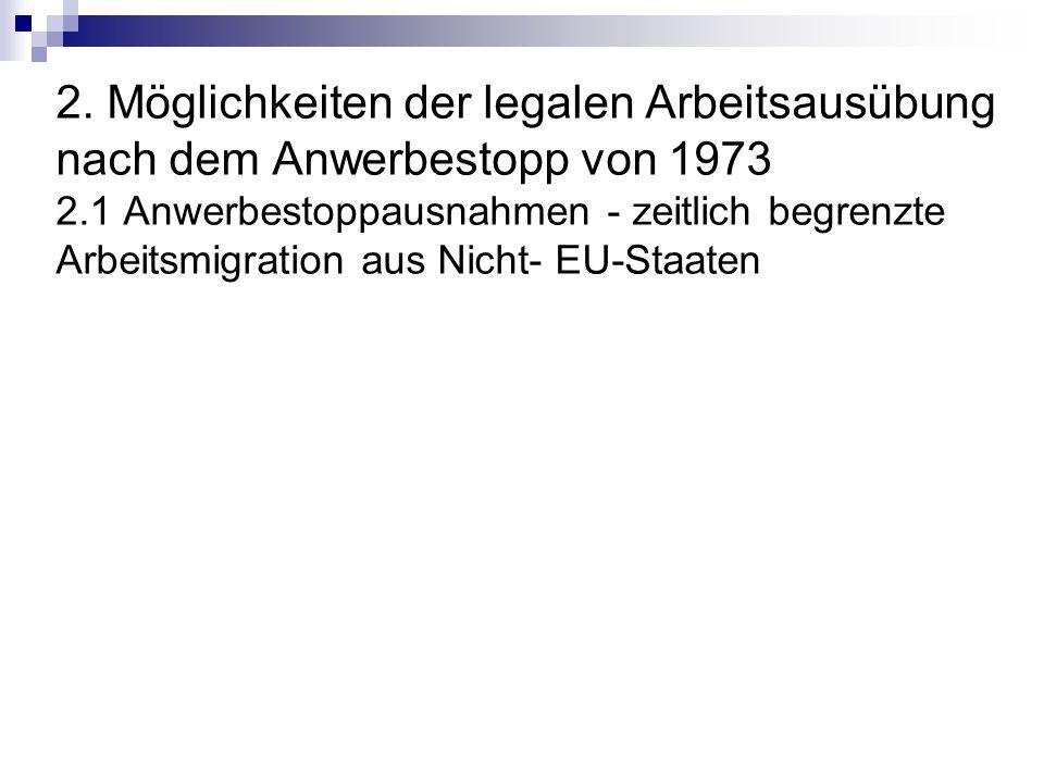 2. Möglichkeiten der legalen Arbeitsausübung nach dem Anwerbestopp von 1973 2.1 Anwerbestoppausnahmen - zeitlich begrenzte Arbeitsmigration aus Nicht-