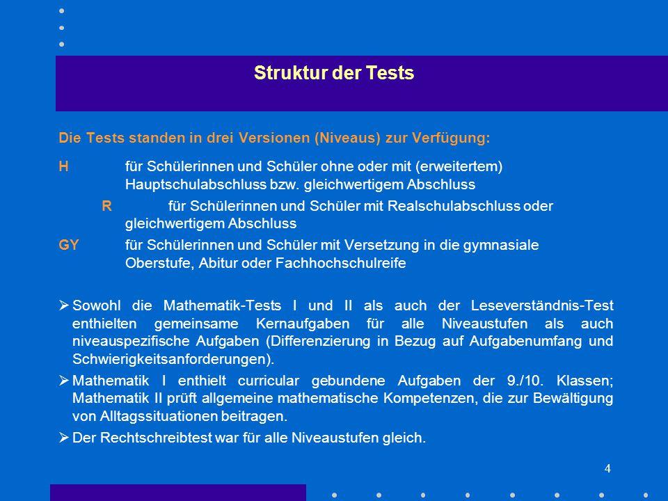 4 Die Tests standen in drei Versionen (Niveaus) zur Verfügung: Hfür Schülerinnen und Schüler ohne oder mit (erweitertem) Hauptschulabschluss bzw.