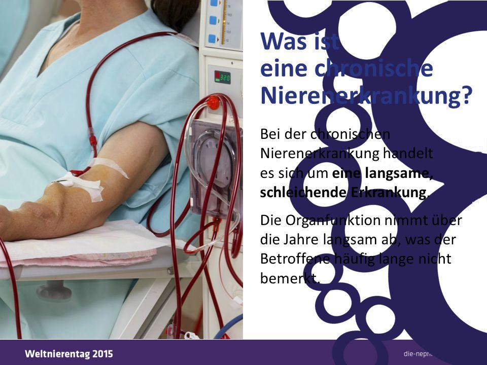 Nierenversagen – wenn Dialyse oder Transplantation erforderlich wird Wenn die Nierenfunktion unter 10 % abfällt, spricht man von einem Nierenversagen.