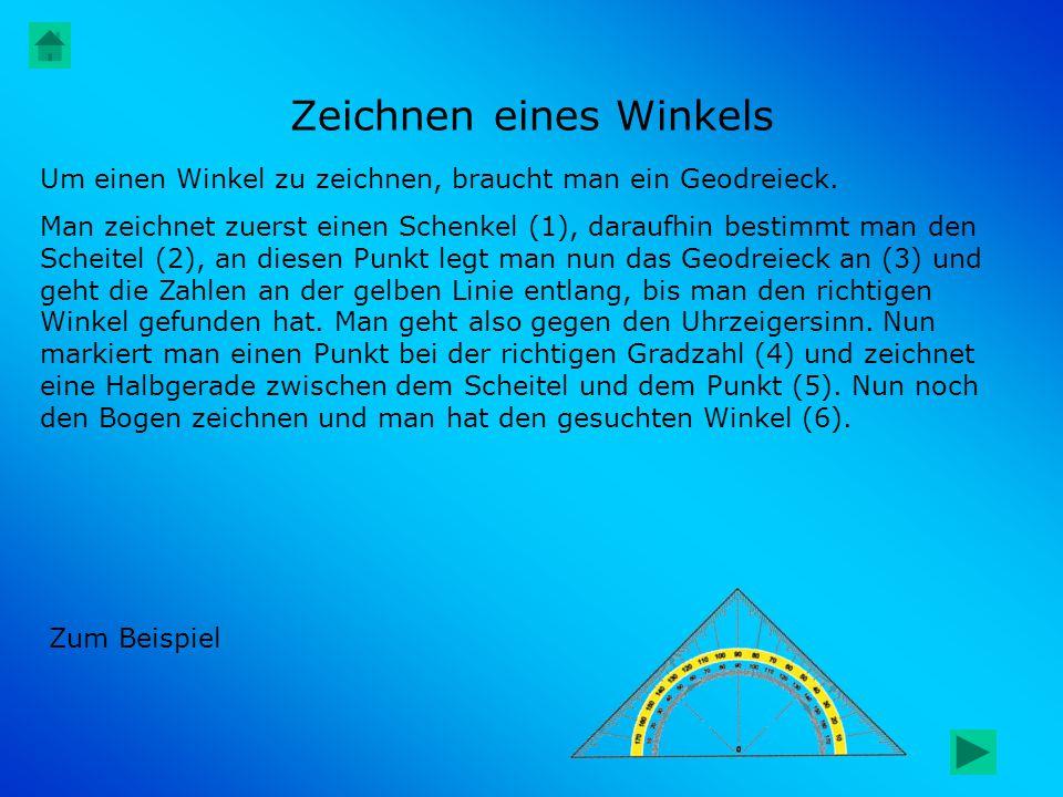 Zeichnen eines Winkels Um einen Winkel zu zeichnen, braucht man ein Geodreieck. Man zeichnet zuerst einen Schenkel (1), daraufhin bestimmt man den Sch