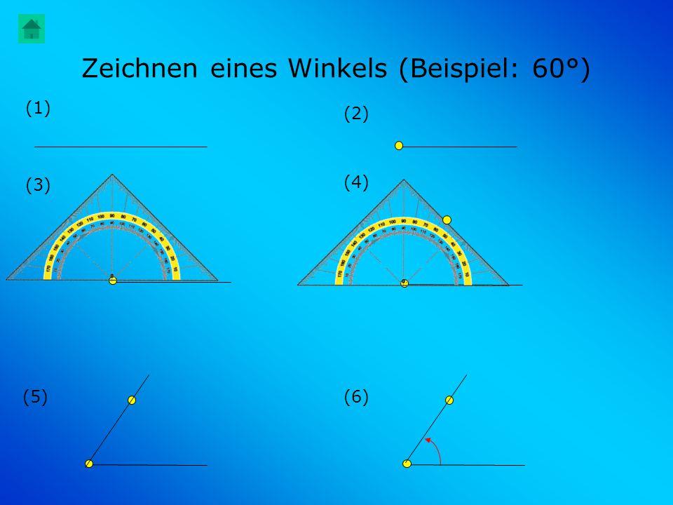 Zeichnen eines Winkels (Beispiel: 60°) (1) (6)(5) (4) (3) (2)