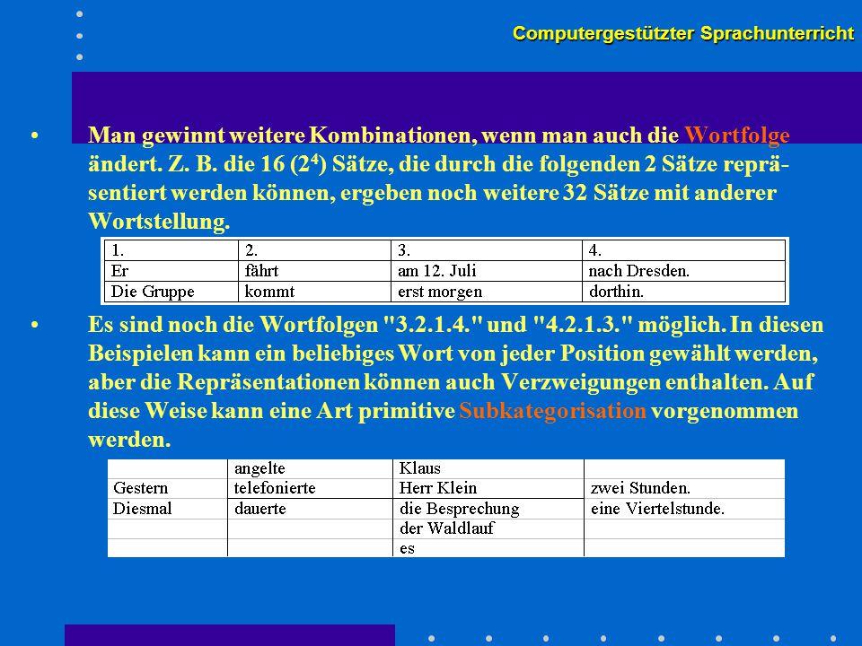 Computergestützter Sprachunterricht Man gewinnt weitere Kombinationen, wenn man auch die Wortfolge ändert.