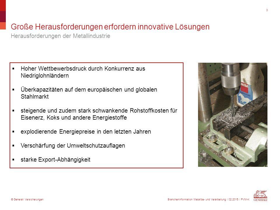 © Generali Versicherungen Große Herausforderungen erfordern innovative Lösungen Herausforderungen der Metallindustrie 3  Hoher Wettbewerbsdruck durch