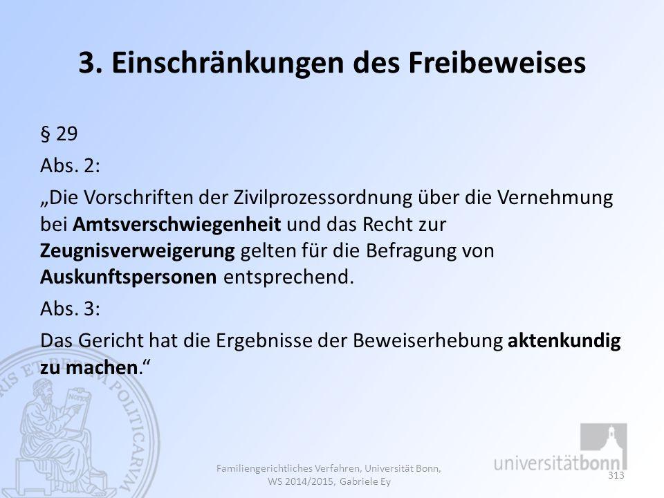 3.Einschränkungen des Freibeweises § 29 Abs.