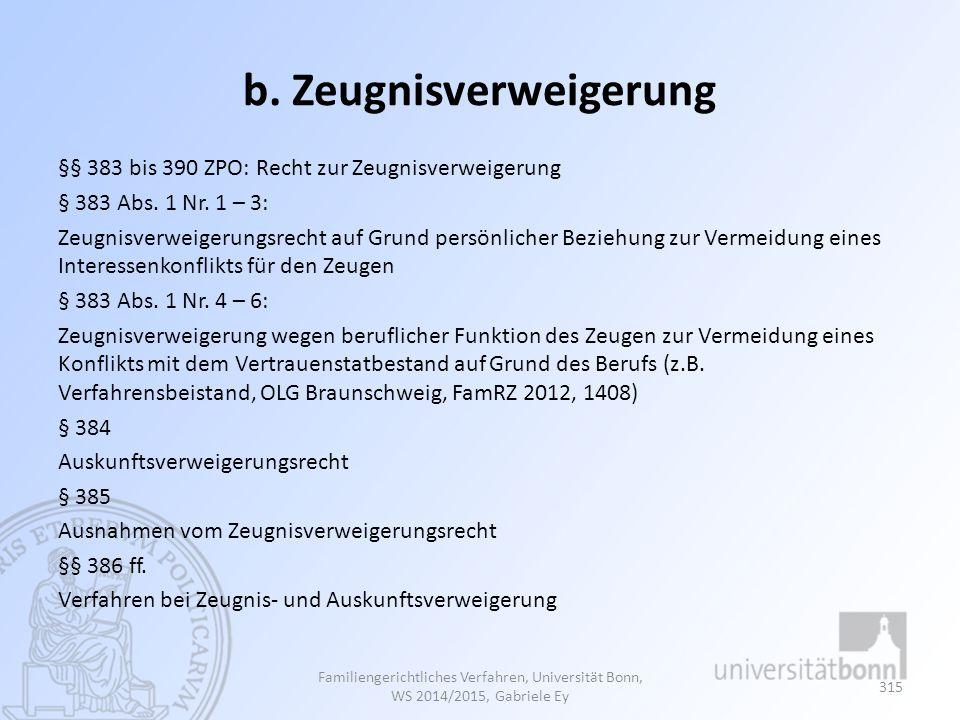 b.Zeugnisverweigerung §§ 383 bis 390 ZPO: Recht zur Zeugnisverweigerung § 383 Abs.