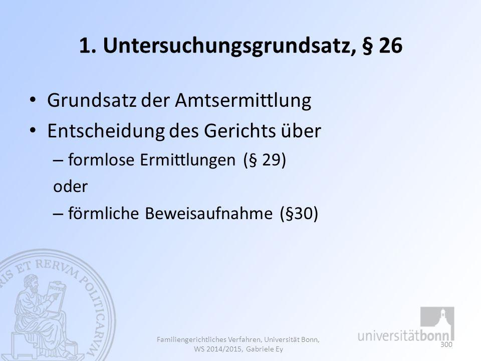 1. Untersuchungsgrundsatz, § 26 Grundsatz der Amtsermittlung Entscheidung des Gerichts über – formlose Ermittlungen (§ 29) oder – förmliche Beweisaufn