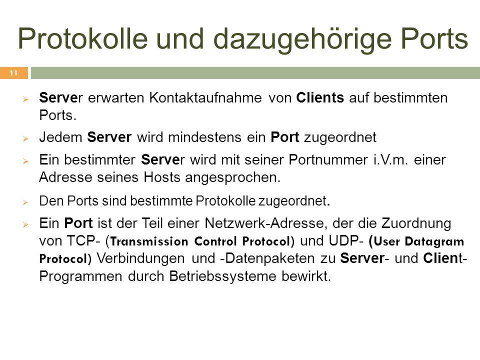 Protokolle und dazugehörige Ports  Server erwarten Kontaktaufnahme von Clients auf bestimmten Ports.  Jedem Server wird mindestens ein Port zugeordn