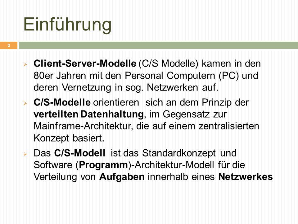 Einführung  Client-Server-Modelle (C/S Modelle) kamen in den 80er Jahren mit den Personal Computern (PC) und deren Vernetzung in sog. Netzwerken auf.