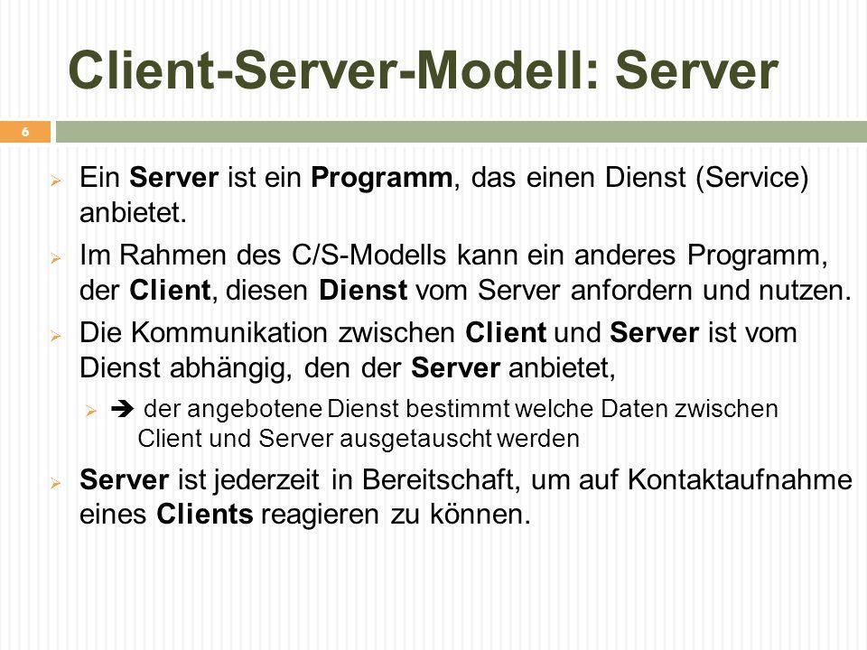 Client-Server-Modell: Server  Ein Server ist ein Programm, das einen Dienst (Service) anbietet.  Im Rahmen des C/S-Modells kann ein anderes Programm