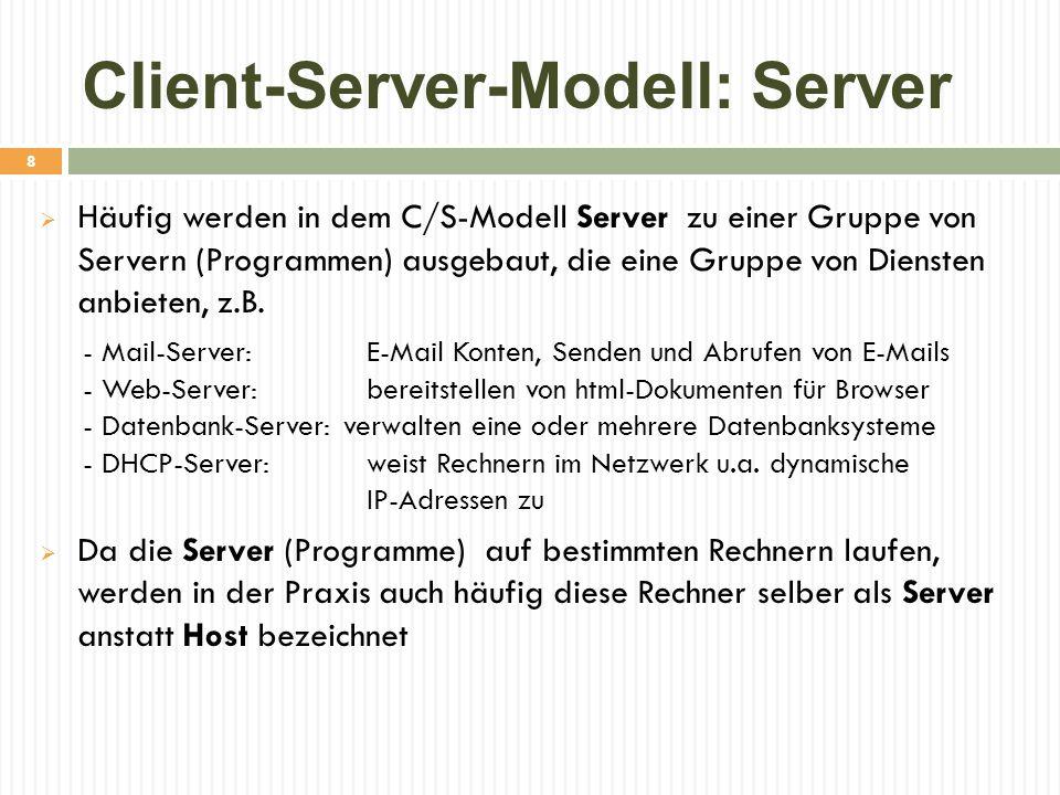 Client-Server-Modell: Server  Häufig werden in dem C/S-Modell Server zu einer Gruppe von Servern (Programmen) ausgebaut, die eine Gruppe von Diensten anbieten, z.B.