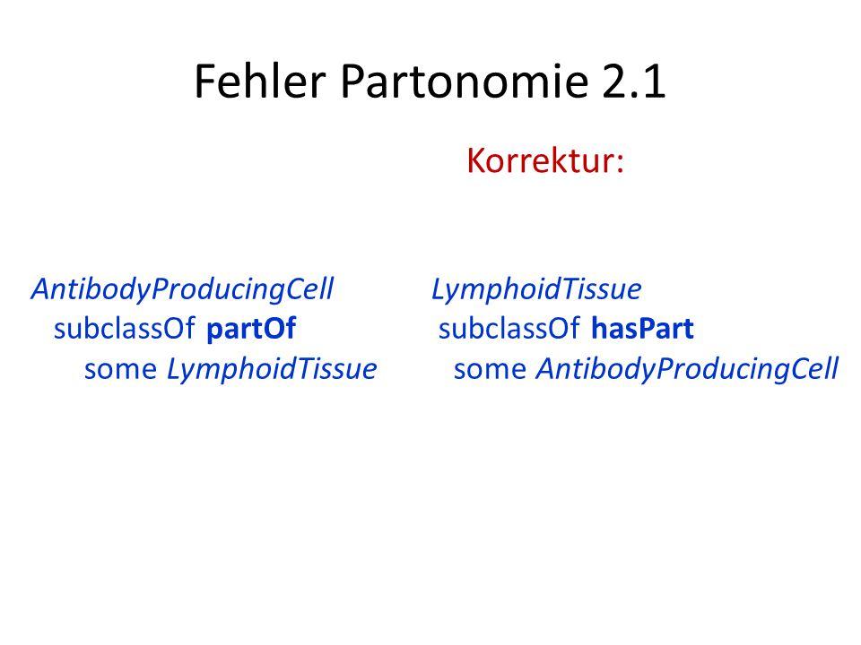 Fehler Partonomie 2.1 LymphoidTissue subclassOf hasPart some AntibodyProducingCell AntibodyProducingCell subclassOf partOf some LymphoidTissue Korrekt