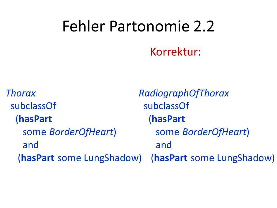 Fehler Partonomie 2.2 RadiographOfThorax subclassOf (hasPart some BorderOfHeart) and (hasPart some LungShadow) Thorax subclassOf (hasPart some BorderOfHeart) and (hasPart some LungShadow) Korrektur: