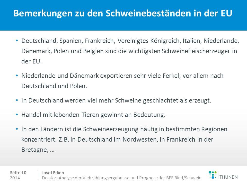 2014 Seite 10 Josef Efken Dossier: Analyse der Viehzählungsergebnisse und Prognose der BEE Rind/Schwein Bemerkungen zu den Schweinebeständen in der EU Deutschland, Spanien, Frankreich, Vereinigtes Königreich, Italien, Niederlande, Dänemark, Polen und Belgien sind die wichtigsten Schweinefleischerzeuger in der EU.
