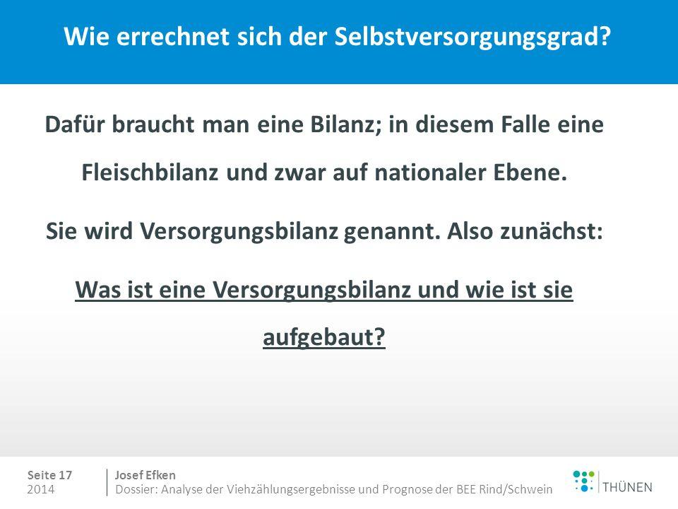 2014 Seite 17 Josef Efken Dossier: Analyse der Viehzählungsergebnisse und Prognose der BEE Rind/Schwein Wie errechnet sich der Selbstversorgungsgrad.