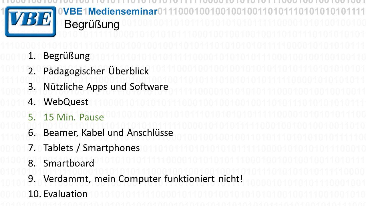 Begrüßung 1.Begrüßung 2.Pädagogischer Überblick 3.Nützliche Apps und Software 4.WebQuest 5.15 Min. Pause 6.Beamer, Kabel und Anschlüsse 7.Tablets / Sm