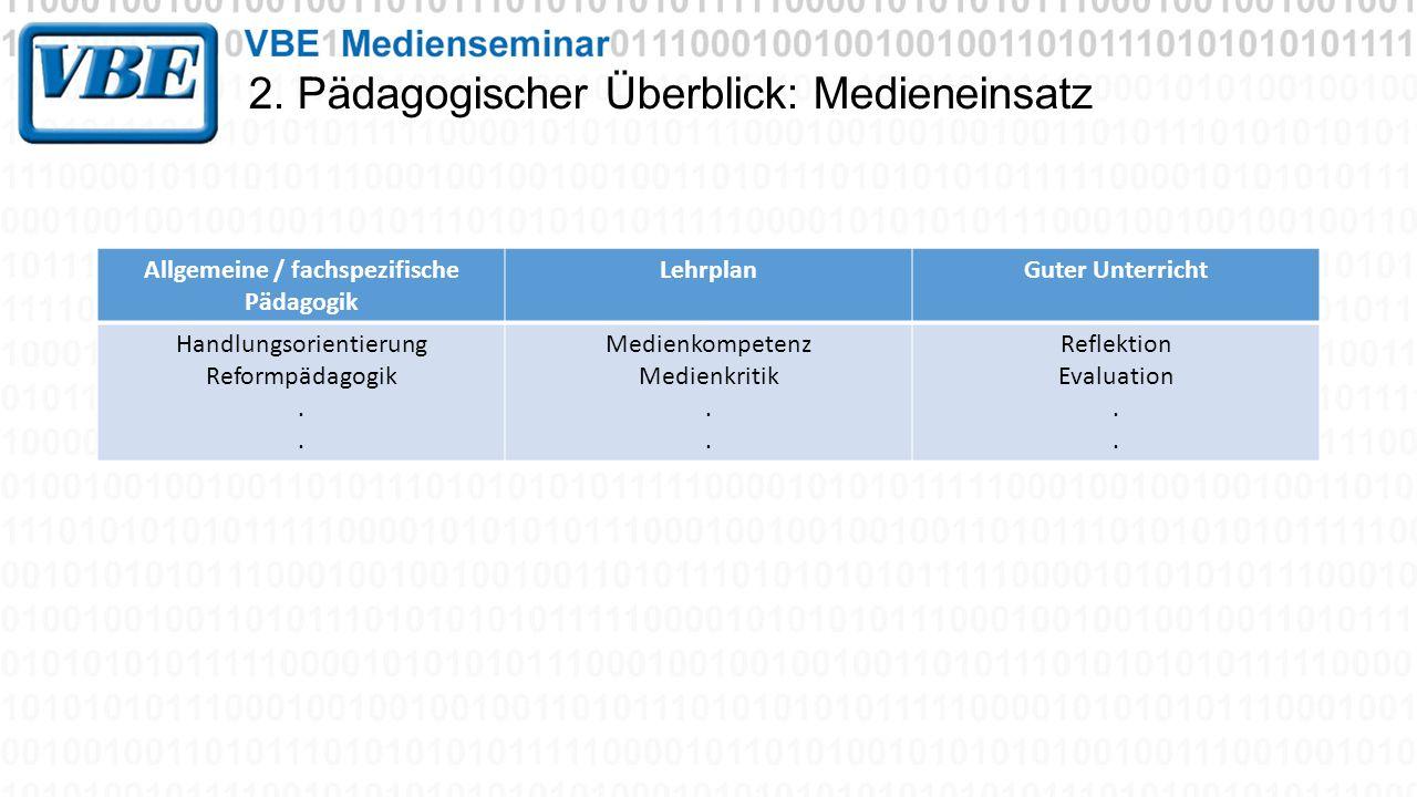 2. Pädagogischer Überblick: Medieneinsatz Allgemeine / fachspezifische Pädagogik LehrplanGuter Unterricht Handlungsorientierung Reformpädagogik. Medie