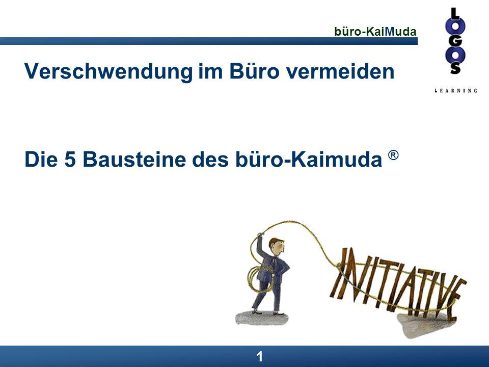 büro-KaiMuda 22 Lösungen: Baustein 4 Hauptteil Motivation erzeugen, um die optimalen Prozesse und Verfahren dauerhaft einzuhalten Kennzahlen erfassen und grafisch aufbereiten Entwicklungen aufzeigen Visuelles Management einführen