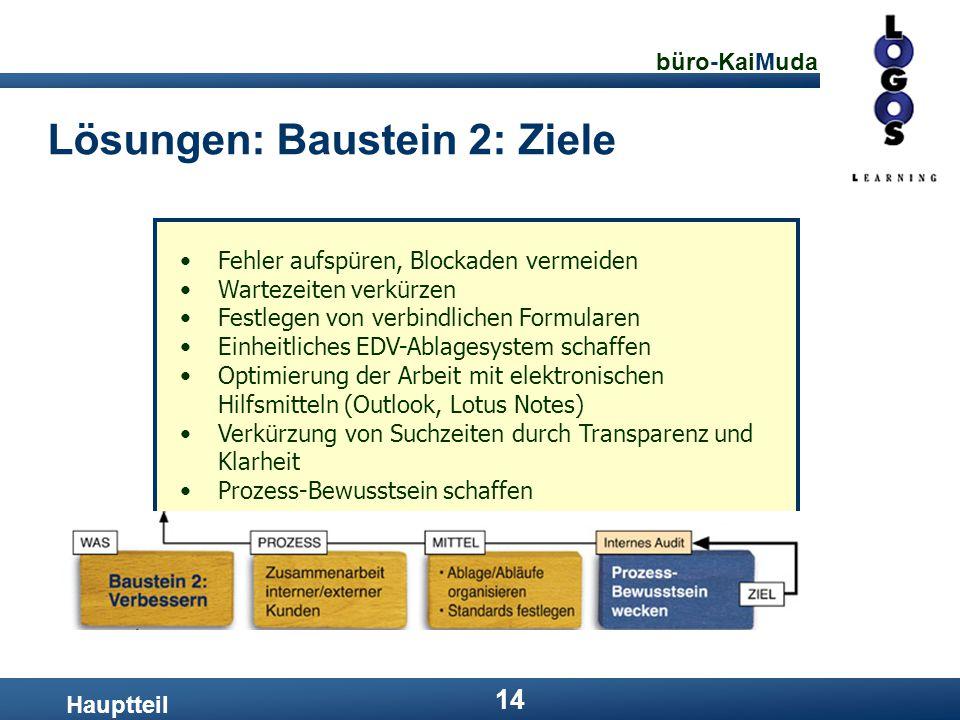 büro-KaiMuda 14 Lösungen: Baustein 2: Ziele Hauptteil Fehler aufspüren, Blockaden vermeiden Wartezeiten verkürzen Festlegen von verbindlichen Formular