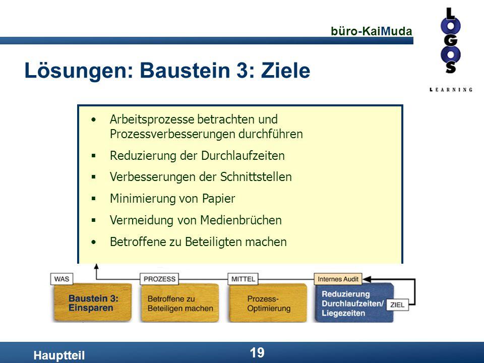 büro-KaiMuda 19 Lösungen: Baustein 3: Ziele Hauptteil Arbeitsprozesse betrachten und Prozessverbesserungen durchführen  Reduzierung der Durchlaufzeit