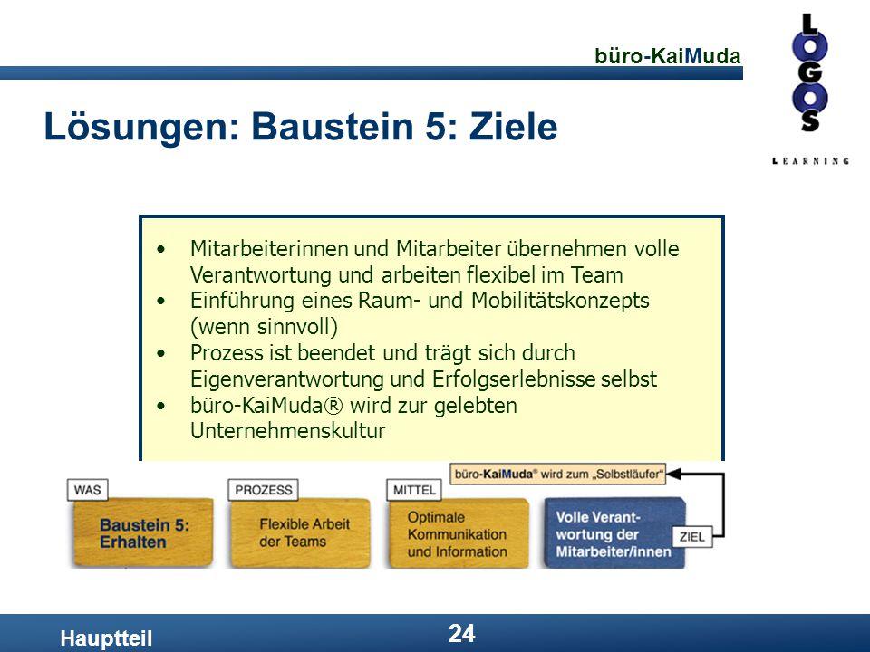 büro-KaiMuda 24 Lösungen: Baustein 5: Ziele Hauptteil Mitarbeiterinnen und Mitarbeiter übernehmen volle Verantwortung und arbeiten flexibel im Team Ei