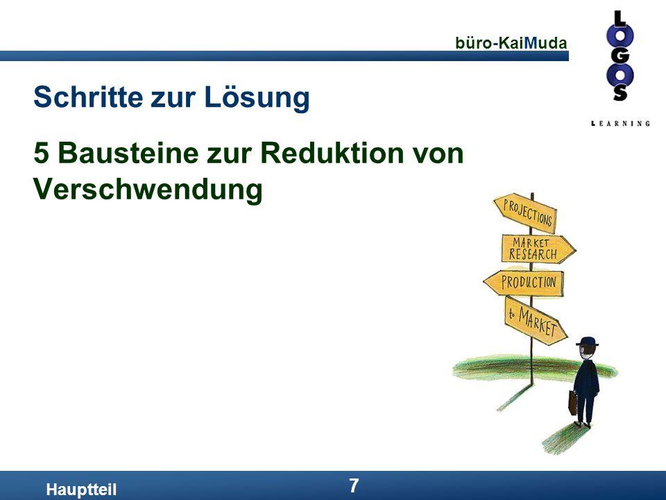 büro-KaiMuda 7 Schritte zur Lösung Hauptteil 5 Bausteine zur Reduktion von Verschwendung